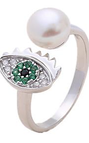 Ringe Imiteret Perle Kvadratisk Zirconium Daglig Afslappet Smykker Imiteret Perle Zirkonium Dame Ring 1 Stk.,En størrelse Sølv