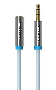 vention® 3.5mm hane till hona ljudkabel 1,5 m / 3 m svart hörlurar aux förlängningskabel för PC / DVD / TV / bilstereo förlängningskabel