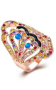 Ringe Kvadratisk Zirconium Daglig Afslappet Smykker Legering Zirkonium Dame Ring 1 Stk.,8 Rose Guld