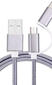 USB 2.0 Micro USB 2.0 Type C Gevlochten Kabel Voor Samsung Huawei Sony Nokia HTC Motorola LG Lenovo Xiaomi 100 cm Nylon
