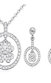 Jewelry 1 Necklace 1 Pair of Earrings Crystal Party Alloy 1set Women Silver White Multi Color Wedding Gifts