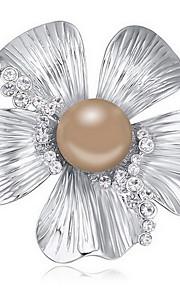 Brocher Blomstformet Perle Lyserød Legering kobber Mørkeblå Sort Hvid Grå Natur Smykker Daglig