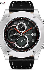 SINOBI Relógio Esportivo Quartzo Calendário Impermeável Cronômetro Resistente ao Choque Couro Banda Casual Preta Cáqui Preto Marron