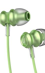 uiisii US60 bambus metal i øret hovedtelefon stereo headset med mikrofon line volumen kontrol mode til mobiltelefon