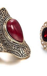 Ringe Euro-Amerikansk Daglig Smykker Legering Ring 1 Sæt,En størrelse Rød