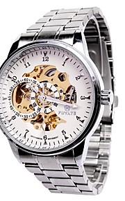 Masculino relógio mecânico Gravação Oca Mostrador Grande Automático - da corda automáticamente Aço Inoxidável Banda Casual Prata