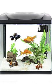 Mini Aquariums Background 4W LED Light 2.5W Water Pump Plastic Black White