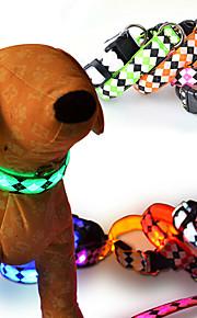 Kediler Köpekler Yakalar Yansıtıcı LED Işıklar Ayarlanabilir/İçeri Çekilebilir Yanıp Sönen Güvenlik Kareli Geometrik KartonKırmızı Beyaz