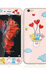アップルのiPhoneのための6S / 6ソフトエッジフルスクリーン・カバレッジ・フロントスクリーンプロテクターとバックプロテクターの猫バルーン漫画のパターンで4.7強化ガラス