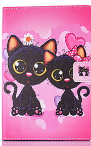 For IPad 234 Case Cover Two Cats Pattern PU Skin Material Flat Protective Shell