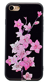 For Flowers Pattern Relief Black TPU Soft Phone Case for iPhone 7 Plus 7 6 Plus 6 SE 5