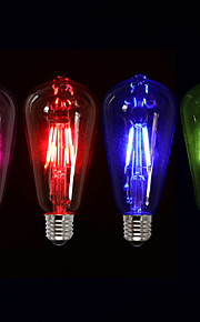 4W E26/E27 LED-glødepærer ST64 4 COB 400 lm Rød Blå Grønn Rosa Dimbar Dekorativ AC 220-240 V 1 stk.