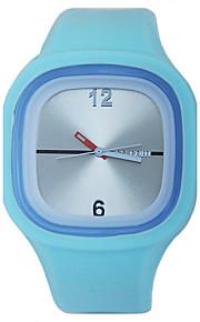 Mulheres Relógio de Moda Quartzo Silicone Banda Casual Azul Vermelho Rose Azul Claro Fúcsia Vermelho