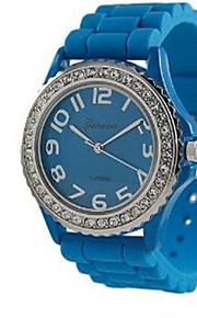 Masculino Mulheres Relógio de Moda Quartzo Silicone Banda Casual Azul Rosa Azul Rosa claro