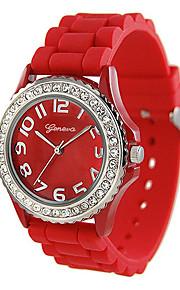 Unissex Relógio de Moda Quartzo Silicone Banda Casual Preta Vermelho Amarelo Preto Amarelo Vermelho