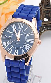 Mulheres Relógio de Moda Quartzo Silicone Banda Casual Preta Azul Preto Azul