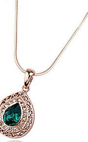 Dame Halskædevedhæng Krystal Kærlighed Hjerte Mode Personaliseret Euro-Amerikansk Lilla Rød Lys Grøn Mørkegrøn Smykker For Bryllup Fest1