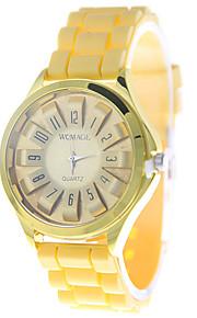 아가씨들 패션 시계 석영 실리콘 밴드 캐쥬얼 브라운 노란색 옐로우 브라운
