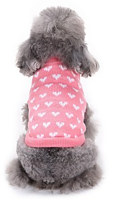 고양이 개 스웨터 강아지 의류 겨울 하트 패션 캐쥬얼/데일리 핑크