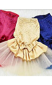개 드레스 강아지 의류 여름 프린세스 귀여운 캐쥬얼/데일리 다크 블루 옐로우 레드