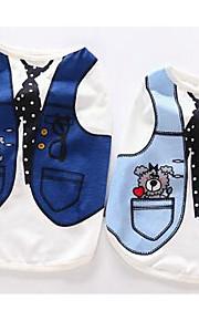 개 티셔츠 강아지 의류 여름 브리티쉬 귀여운 캐쥬얼/데일리 다크 블루 블루