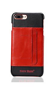 Für Hüllen Cover Kreditkartenfächer Rückseitenabdeckung Hülle Einheitliche Farbe Hart Echtes Leder für Apple iPhone 7 plus iPhone 7