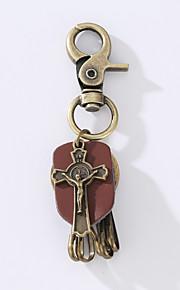 O novo punk do vintage vintage vowhide anel chave da liga é decorado com um anel