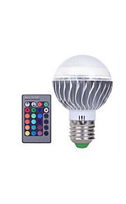 1 stk 3w e27 rgb led pære farge utskiftbar rgb led lampe med ir fjernkontroll for hjemme og ktv ac85-265v