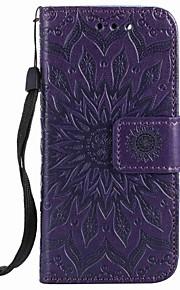 För Apple iPod Touch 5 Touch 6 Hölje Kort Kort Hållare Plånbok med Stativ Flip Präglat Mönster Full Body Case Flower Hard PU Läder