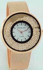 여성용 패션 시계 석영 모조 다이아몬드 합금 밴드 캐쥬얼 실버 골드 로즈 골드