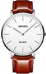 Heren Modieus horloge mechanische horloges Japans Kwarts Leer Band Zwart Bruin