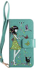 아이폰 7plus 7 전화 케이스 pu 가죽 소재 여자와 고양이 패턴 빛나는 전화 케이스 6s 플러스 6plus 6s 6 se 5s 5