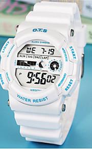 Homens Relógio de Moda Chinês Digital Borracha Banda Casual Branco