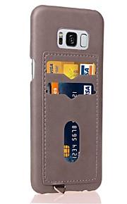 עבור Samsung galaxy s8 s8 בתוספת מקרה כיסוי כרטיס מחזיק חזרה מקרה במקרה מוצק צבע קשה pu מקרה עור