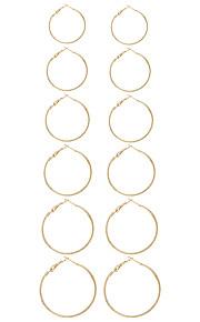 1Set Women's Earring Back Hoop Earrings Circular Unique Design Euramerican Fashion Simple Style Metal Alloy Circle Geometric Jewelry ForCasual