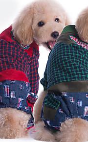 Hund Overall Hundekleidung Lässig/Alltäglich Plaid/Karomuster Rot Grün