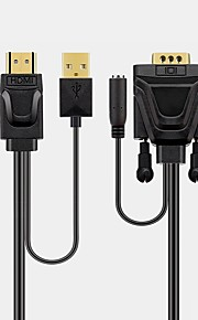 HDMI 1.4 Adapter Cable, HDMI 1.4 to VGA Adapter Cable Male - Male 1.5m(5Ft)