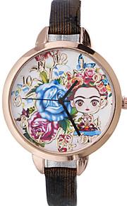 Damskie Modny Zegarek na nadgarstek Kwarcowy Skóra Pasmo Kwiat Artystyczny Czarny Czerwony Brązowy Złoty Granatowy Rose