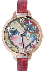 Damskie Modny Zegarek na nadgarstek Kwarcowy Skóra Pasmo Artystyczny Czarny Czerwony Brązowy Złoty Granatowy Rose