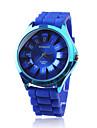 블루실리콘 밴드가 있는 패셔너블한 쿼츠 손목시계