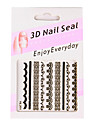 6 nail art estilo francês adesivos branco / preto / pin renda k