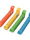 12 centímetros coloridos do alimento do vácuo clipes selo com dados de marca (4-pack)
