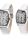 Pair of Unisex PU Analog Quartz Wrist Watch (White) Cool Watches Unique Watches