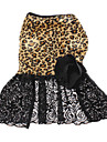 Dog Dress Black Spring/Fall Animal Leopard