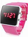 Unisex Silicone Style Sports Red LED Wrist Watch (Pink)
