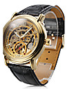 Men's Auto-Mechanical Gold Dial Black PU Band Wrist Watch Cool Watch Unique Watch