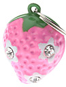 Cat / Dog Tag With Bell / Strawberry / Cartoon Design Pink Aluminum