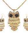 Women\'s Vintage Owl Bronze Jewelry Set(Necklace & earrings)