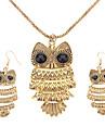 Women\'s Vintage Owl Bronze Jewelry Set(Necklace & earrings)