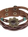 z&X® cruz quadrifólio pulseira de couro rebite